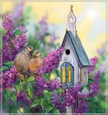 Гиф gif Сказочный домик для птиц рисунок