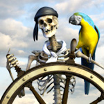 Картинка Скелет с попугаем ара за штурвалом корабля анимация