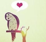 Сова на ветке думает о любви