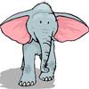 Картинка Слон серый с большими розовыми ушами анимация