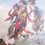Гиф gif Девушка с султаном на лошаде рисунок
