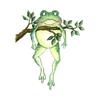 Гиф gif Лягушка с веточкой рисунок