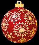 Новогодняя игрушка-шарик красный с желтым рисунком