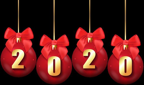 2020 написано на новогодних шарах с бантиками