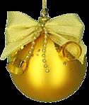 Новогодняя игрушка-шарик золотой с золотым бантом