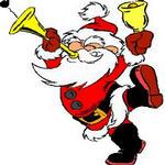 Дед мороз трубит в горн и звонит в колокольчик смайлики картинки