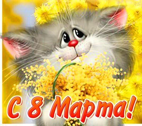 Картинка. К 8 марта Кот с мимозой смайлики картинки