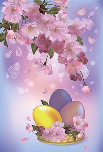 Картинка Открытка с цветами к пасхе анимация