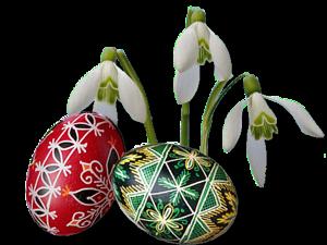 Пасхальные яйца и весенние цветы
