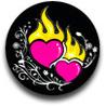 Картинка Сердцца розовые горят на черном фоне анимация