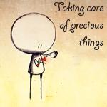 Картинка Человечек с красным сердцем (taking care of precious thin... анимация