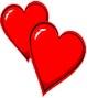 Картинка Двалюбящих сердечка вместе анимация