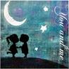 Гиф gif Мальчик и девочка под луной и звездами целуются рисунок