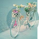 Гиф gif Велосипед в цветах стоит у обочины рисунок