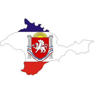 Республика Крым, Герб на фоне Флага Крыма в виде карты
