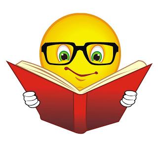 Смайлик в очках читает книгу