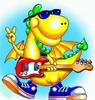 Гиф gif Дракон с гитарой рисунок