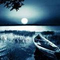Ночной пейзаж с лодкой