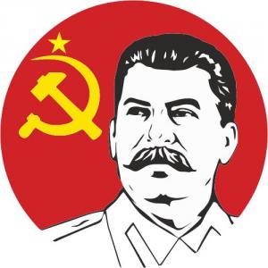 Сталин на фоне красного знамени с серпом и молотом