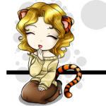 Гиф gif Девочка с хвостом тигра рисунок